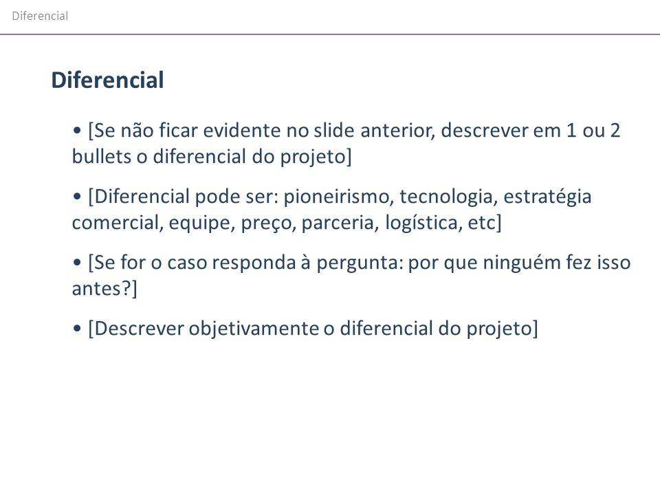 Diferencial Diferencial. [Se não ficar evidente no slide anterior, descrever em 1 ou 2 bullets o diferencial do projeto]